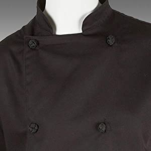 Mercer Culinary M61040BKXS Genesis Womens Chef Jacket with Cloth Knot Buttons Black X-Small
