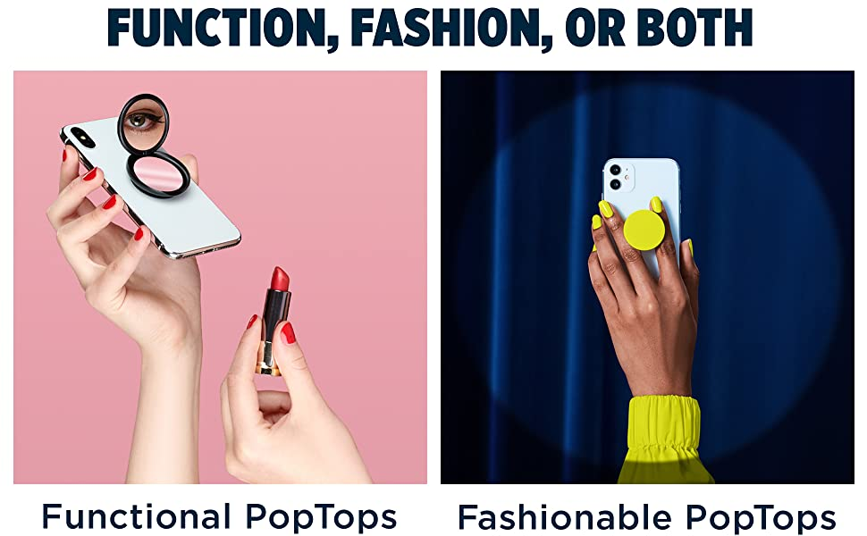 Function Fashion, or Both. Left image shows the PopGrip Mirror. Right images show a yellow PopGrip