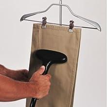 steaming pants on hanger