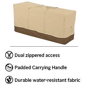 Amazon Com Classic Accessories 55 648 051501 00 Veranda Water Resistant 60 Inch Patio Cushion And Cover Storage Bag Pebble Oversized Garden Outdoor
