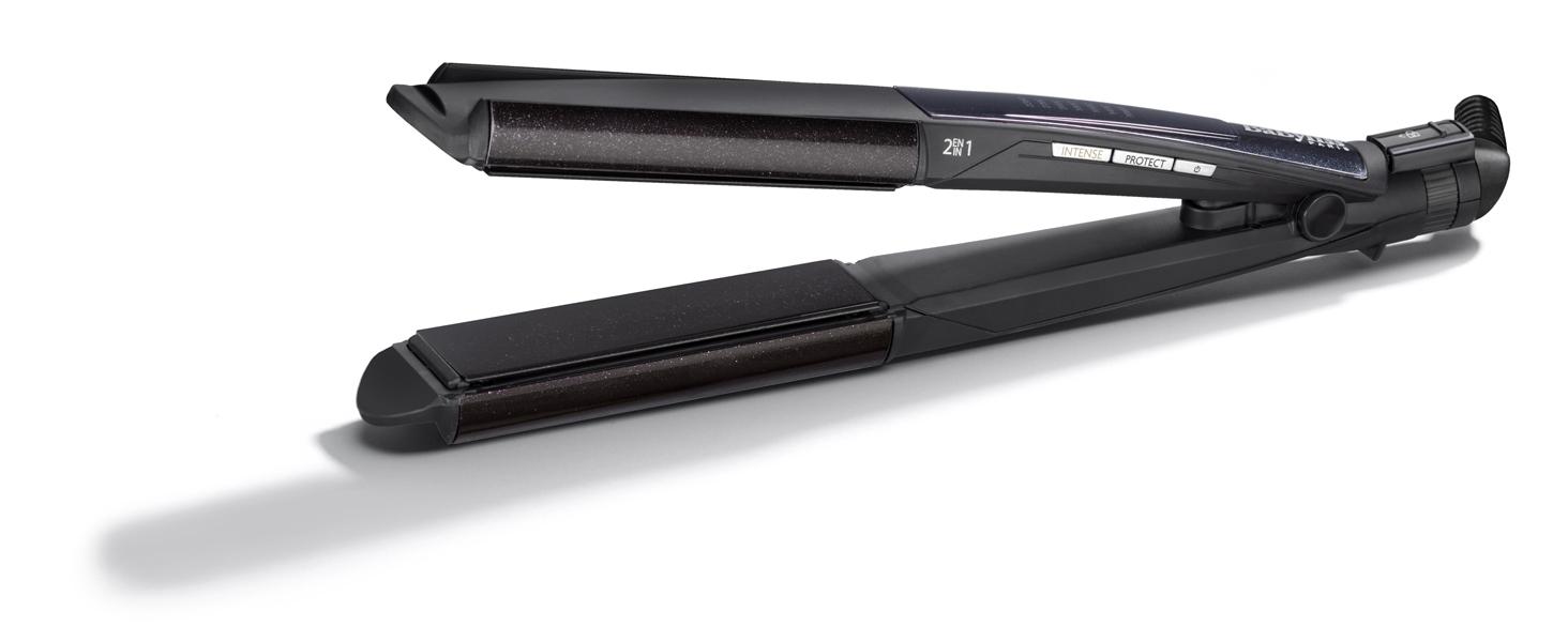 BaByliss ST330E Plancha de pelo, función I-curl para rizar, placas flotantes diamond eramic, 6 temperaturas de 140º a 235º, color negro: Amazon.es: Belleza