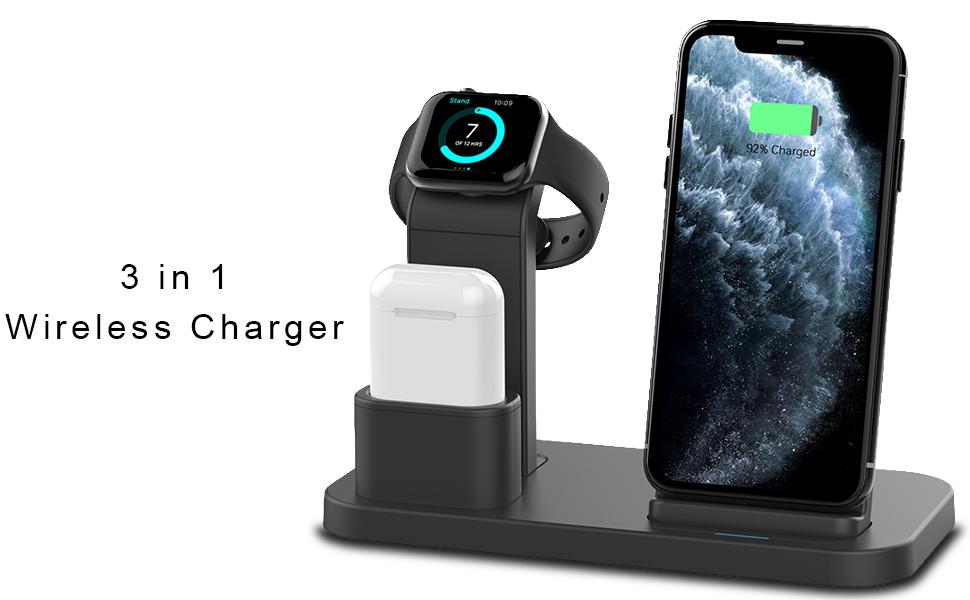 Conido Wireless Charger for iPhone, 3 in 1 Charging Stand for Apple Series Watch 54321, AirPods Pro 2 1 Charging Dock, Charging Station