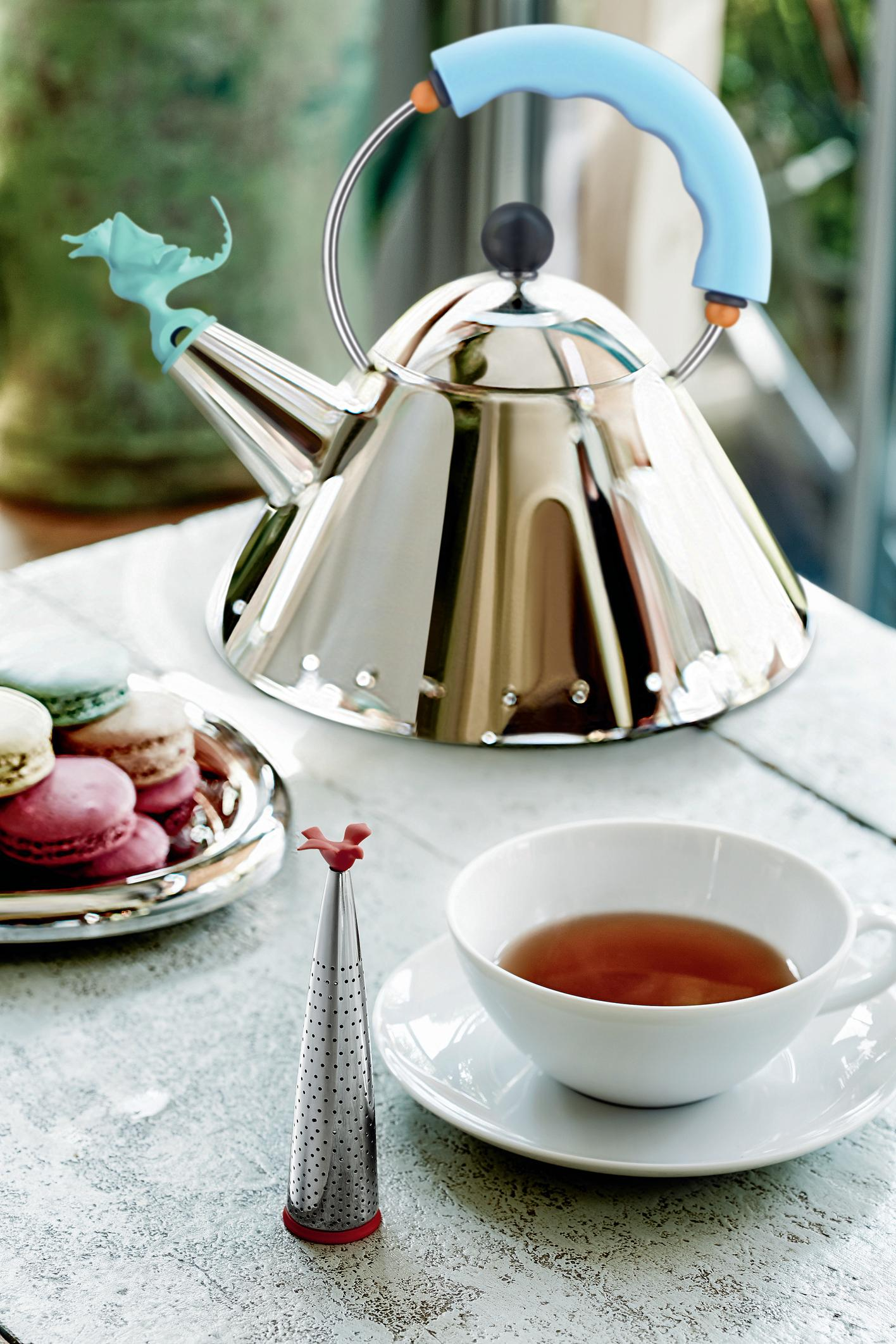alessi  stainless steel mirror polished tea rex kettle with  - view larger '