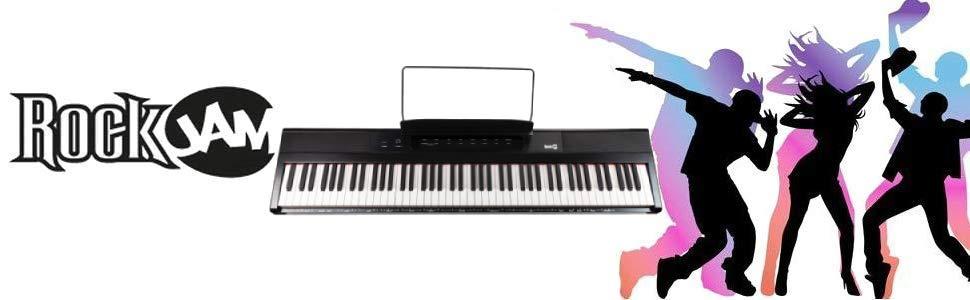 RockJam Teclado de piano digital para principiantes Piano con teclas semipesadas de tamaño completo, Soporte de música, Fuente de alimentación y ...