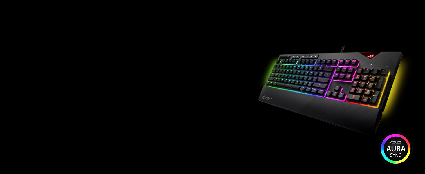Asus ROG Strix Flare (CMB) Aura Sync RGB Mechanical Gaming Keyboard with  (Cherry MX Blue) Switches, Customizable Badge, USB Pass Through and Media
