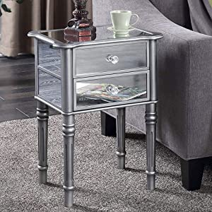 traditional mirrored end table