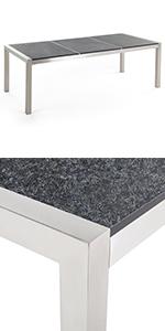 Beliani Table de Jardin en Plateau Granit Noir Poli 180 cm ...