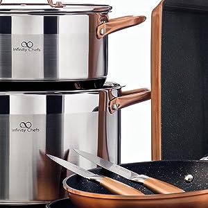Bergner Infinity Chef Sartén de Inducción, Aluminio Forjado, Bronce, 16 cm