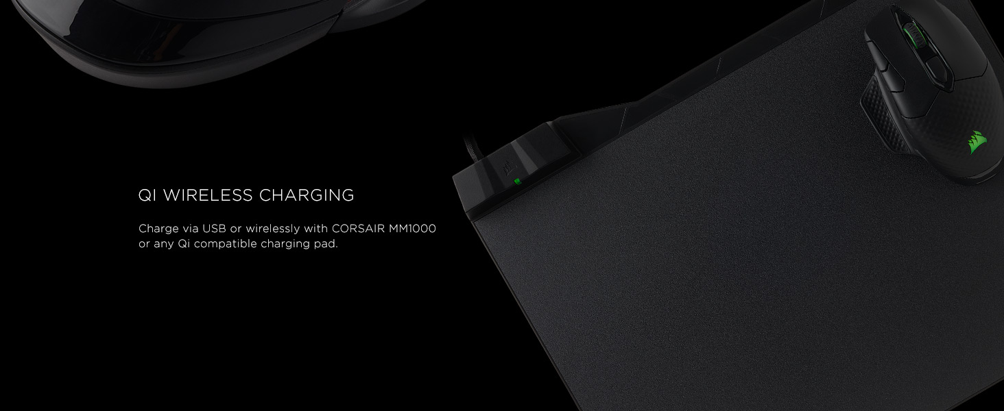 Kết quả hình ảnh cho QI® WIRELESS CHARGING Charge via USB or wirelessly with CORSAIR MM1000 or any Qi compatible charging pad.