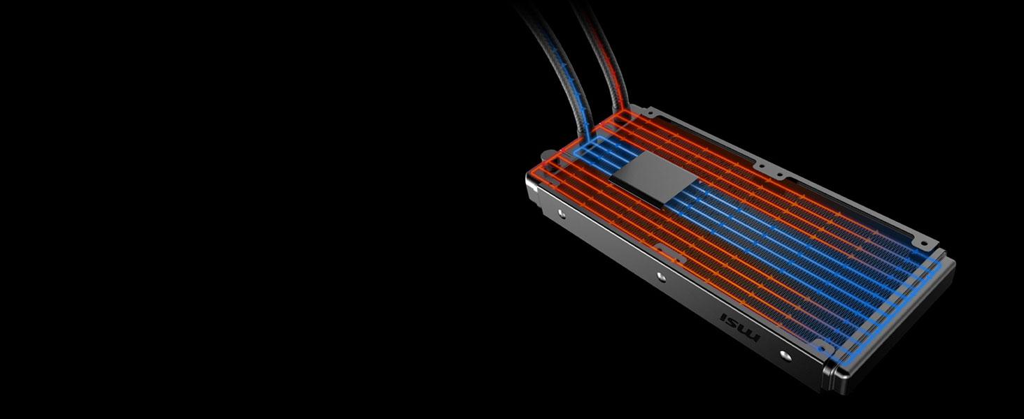 msi mag coreliquid 240r 360r water cooling cooler radiator split flow