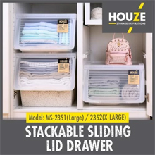 HOUZE - Stackable Sliding Lid Drawer (Large): Stackable design with more vertical storage
