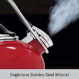 whistiling teakettle loop enamel on steel stay cool handle kitchen boiler design style