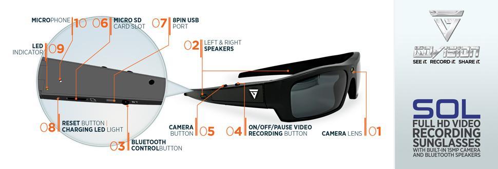 57ffd9ba13 Amazon.com  GoVision SOL 1080p HD Camera Glasses Video Recording ...