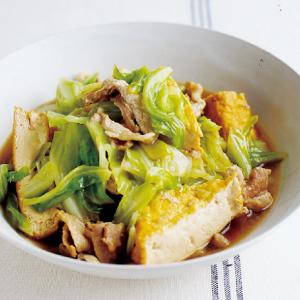 圧力鍋 あつりょくなべ 鍋 時短 うま煮 煮物 煮もの にもの 簡単 厚揚げ キャベツ 中華風 豚こま おかず 晩ごはん レシピ うまみ 厚あげ 豆腐 5分 すぐできる 味しみ