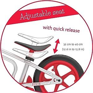 tool free seat adjustment, balance bike, steel frame