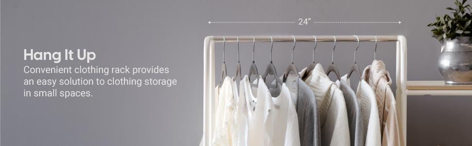 small garment rack, small white garment rack, small metal shelf clothing rack,  white clothing rack