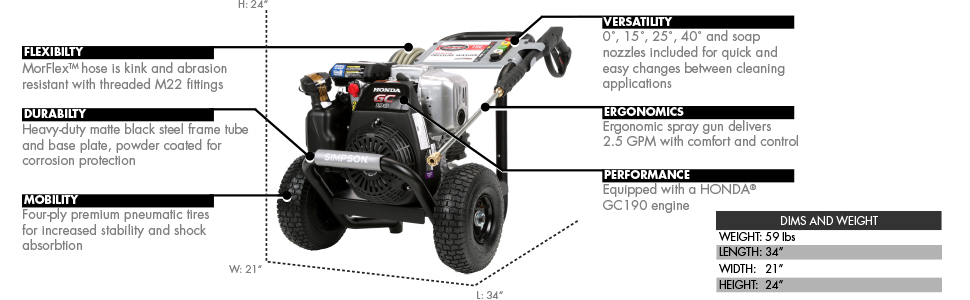 MSH3125-S gas pressure washer