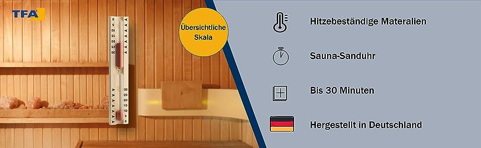 Sablier de sauna fabriqué en Allemagne avec échelle facile à lire.