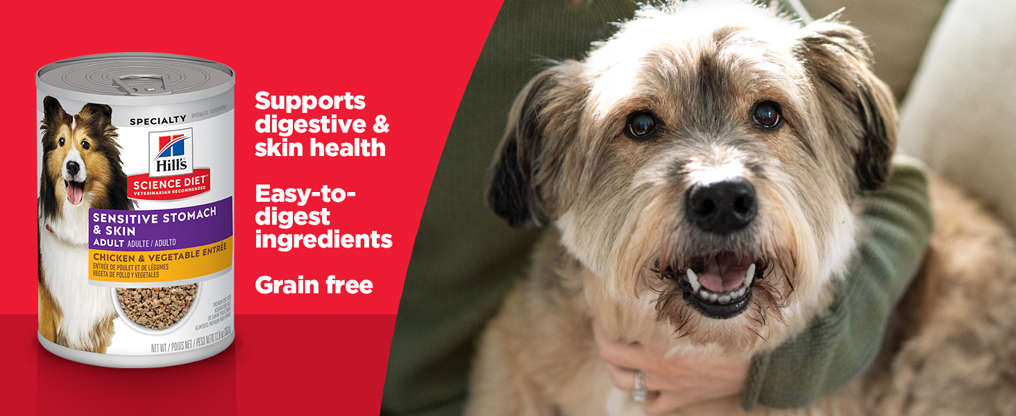Hill's Science Diet Adult Sensitive Stomach & Skin Canned Dog Food, Chicken & Vegetable Entrée