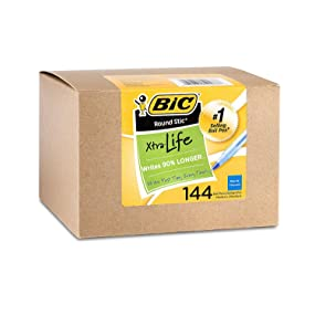 box of 144 bic round stic xtra life blue ball pens