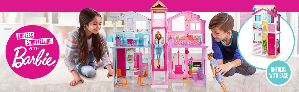 Three-Story Town House Colourful Bright Doll House Comes with Furniture and Accessories, Playset