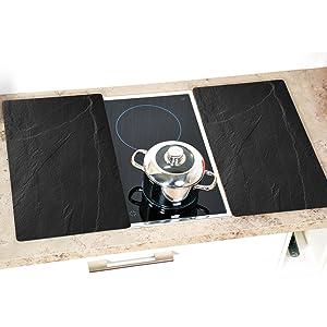 Plaque de découpe multi-verre, plaque de découpe en verre, plaque de découpe, couvercle de cuisinière, caster, aspect ardoise.