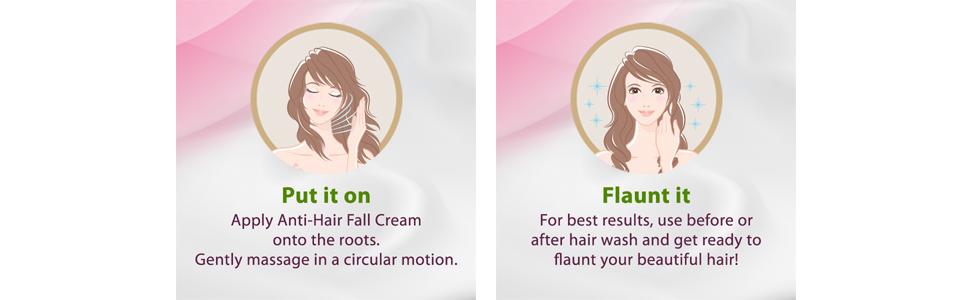 gently massage; flaunt it; beautiful hair