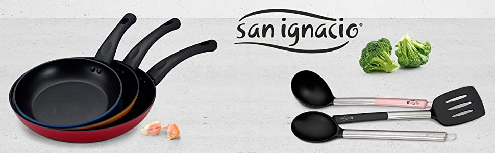 San Ignacio PK1408 Monza Set 3 sartenes + 3 Utensilios, Aluminio Forjado