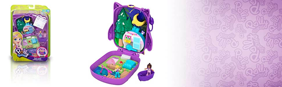 Polly Pocket Cactus owlnite Camping Compact Play Set