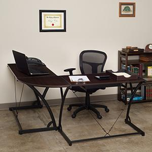 soho, corner desk, l desk, workstation, home office, mocha walnut, metal base, dark brown,