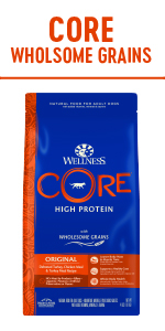 CORE dog food, Grain free dog food, high protein dog food, dry grain free dog food, Wellness Core