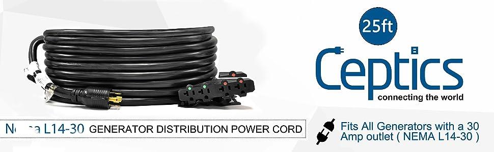 w//Breaker Switch L14-30P to 4x 5-15//20R Ceptics 30A Generator Extension Cord
