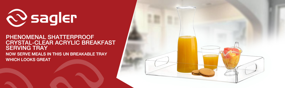 acrylic tray tea tray and coffee table tray breakfast tray Clear Acrylic Serving Tray with Handles Sagler COMIN16JU001594