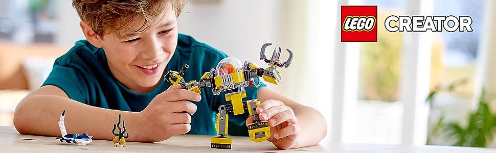 underwater-robot-machine-manta-rey-fish-reef-ocean-sea-seabed-submarine-crane-lego-creator