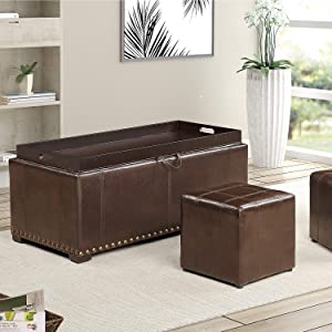 AC Pacific 2 Side Ottomans Storage Bench with with, Brown