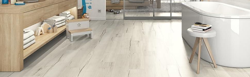 EGGER Home Aqua+ Laminat weiß in Holzoptik - EHL105 Creston Eiche weiss  (8mm, 1,994 m²/Pkt.) Laminatboden wasserbeständig - Feuchtraum geeignet