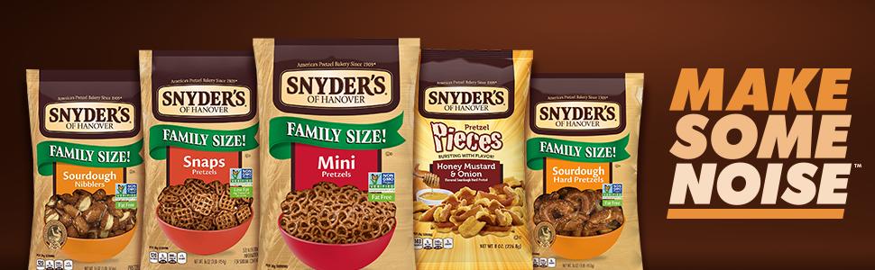 snyders hanover pretzels crunchy snacks bags mini honey mustard sourdough snaps non-gmo baked
