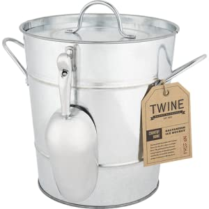 Galvanized Steel Ice Bucket With Removable Lid And Scoop By Twine