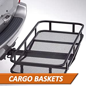 Surco Rugged Easy to Assemble Receiver mount Hitch Basket Cargo Storage Rack