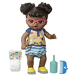 baby alive doll; realistic baby dolls; black hair baby doll; gifts for girls, doll with diaper