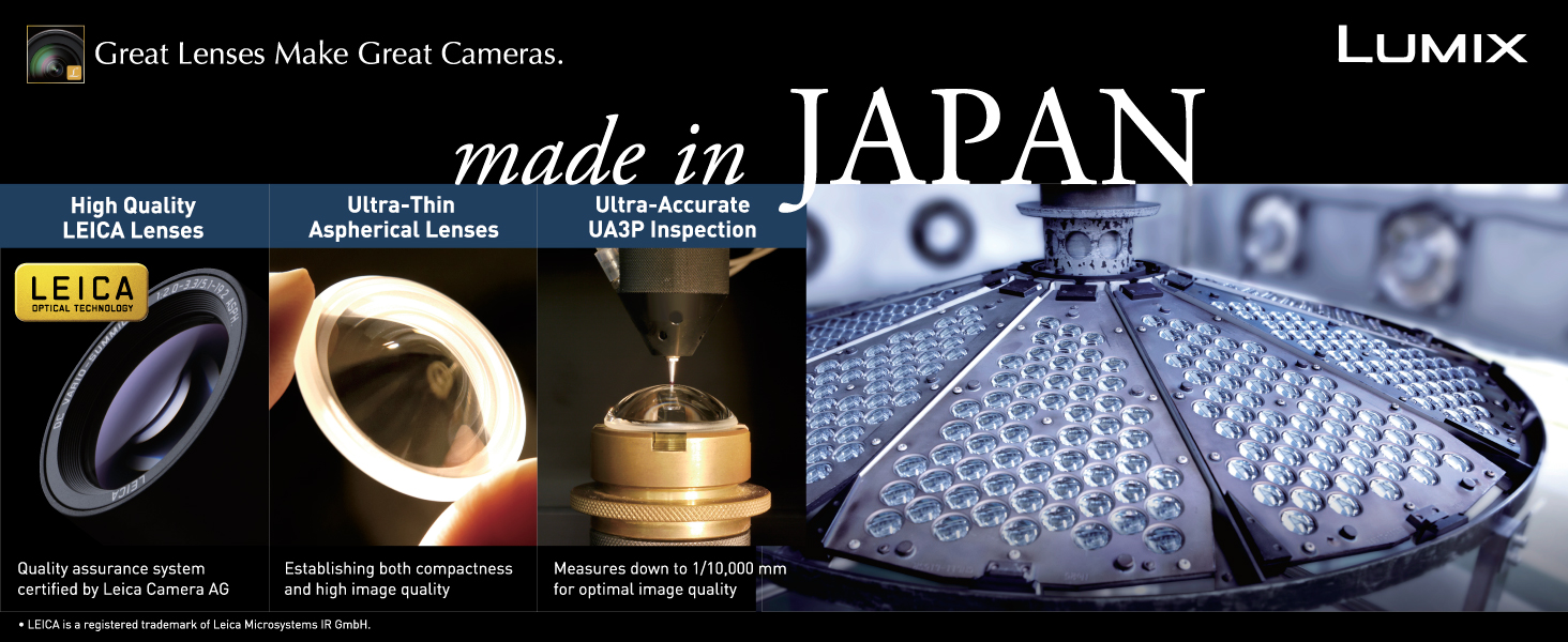 Panasonic LUMIX G Leica DG lenses are quality made in Japan.