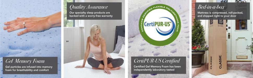 Bed in a box, bedinabox, mattress, delivered to your door, warranty, certipur, gel memory foam