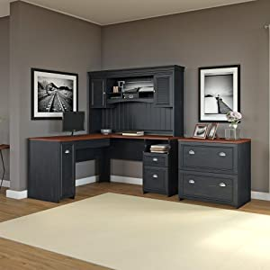 All the Desk Drawer and Door Space You Need & Amazon.com: Bush Furniture Fairview L Shaped Computer Desk with ...