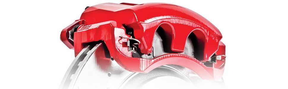 red brake calipers, performance brake calipers, powder coated calipers