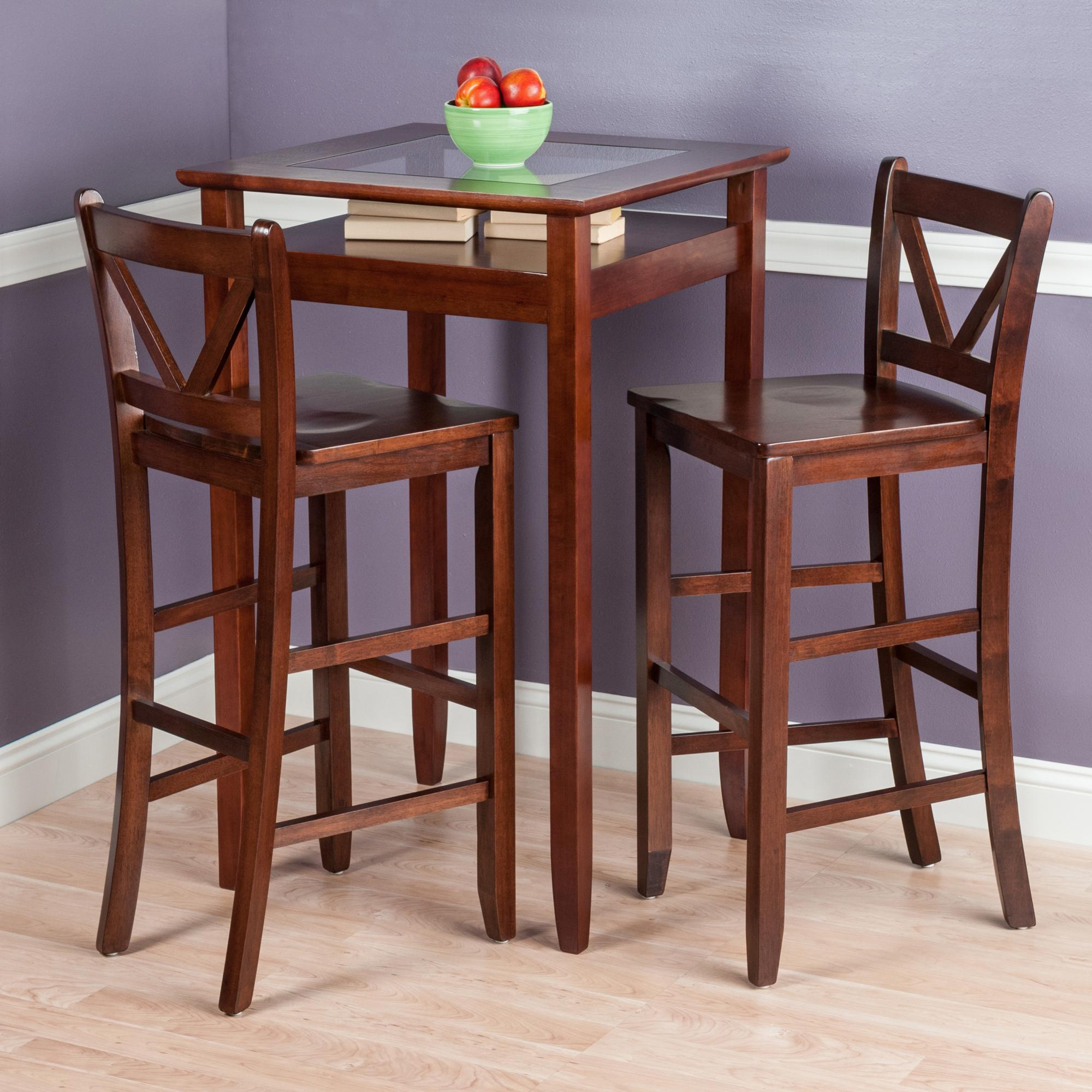 winsome wood halo 3 piece pub table set with 2 v back stools - 3 Piece Pub Table Set