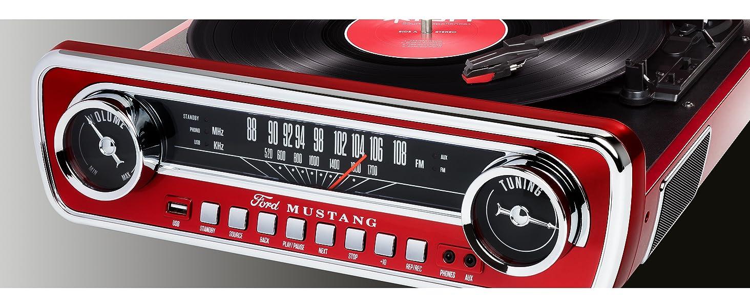 Ion Audio Mustang Lp Usb Plattenspieler Mit Lautsprecher Schallplattenspieler Retro Mit Radio Aux Eingang Und Vinyl Zu Mp3 Kovertierungssoftware Roter Lack Ein Muss Für Alle Ford Mustang Fans Musikinstrumente