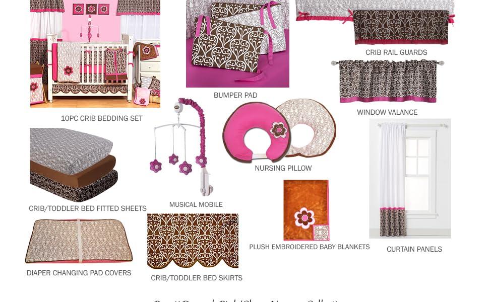 Bacati Damask Pink/Chocolate Girls Nursery Decor