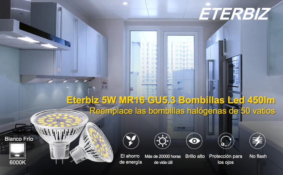 Eterbiz MR16 GU5.3 - Bombillas LED (12 V, 24 V, 5 W, luz ...