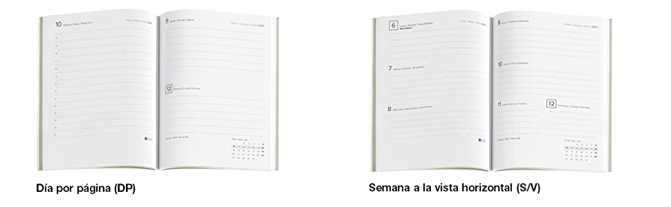 Miquelrius 33401 - Agenda 2020, Semana Vista Horizontal (122 x 168 mm), Luxor Rojo, Catalán