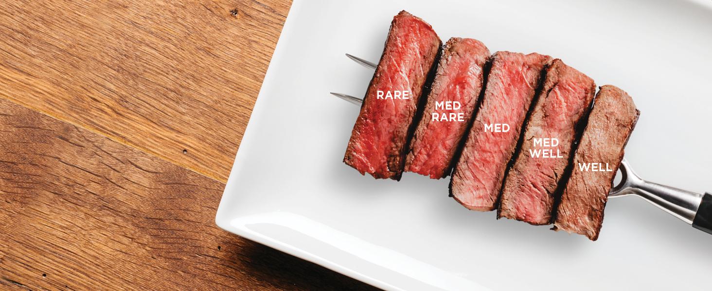 grilled steak, air grilled steak, air fried steak, rare, medium rare, medium, medium well, well done